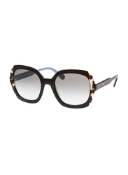Prada Full Rim Square Black Sunglasses for Women, Grey Lens, PA-16US-KHR0A7, 54/21/145