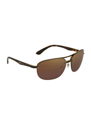 Ray-Ban Half-Rim Rectangle Tortoise Brown Sunglasses Unisex, Purple Mirrored Lens, RB4275CH-710/6B, 63/15/143