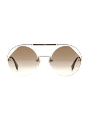 Fendi Half-Rim Round Gold Sunglasses for Women, Brown Gradient Lens, FN-0325/S-09Q56HA, 56/23/140