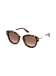 Tom Ford Full Rim Butterfly Tortoise Sunglasses for Women, Brown Lens, FT-057452G52, 55/22/140