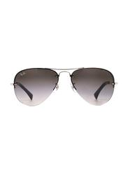 Ray-Ban Half-Rim Aviator Silver Sunglasses Unisex, Grey Gradient Lens, RB3449-003/8G, 59/14/135