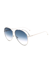 Fendi Full Rim Aviator Silver Sunglasses for Women, Blue Gradient Lens, FN-0286/S-0106308, 63/13/135