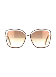 Chloe Full Rim Butterfly Silver Sunglasses for Women, Pink Mirrored Lens, CL-CE133S-205, 60/15/140