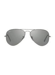 Ray-Ban Full Rim Aviator Silver Sunglasses Unisex, Silver Mirrored Lens, RB3025-W3277, 58/14/135