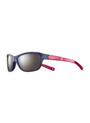 Julbo Player L Full-Rim Rectangle Blue Sunglasses for Kids, with Blue Light Filter, Mirrored Grey Lens, 6-10 Years, JBF-PLAYERLJ4631126, 49/17/112