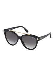 Tom Ford Full Rim Cat Eye Black Sunglasses for Women, Grey Lens, FT-051801B58, 58/14/140