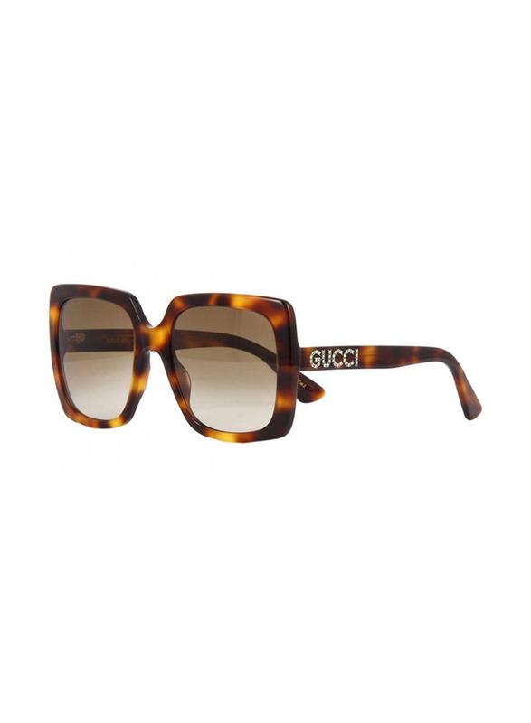 Gucci Full Rim Square Havana Sunglasses for Women, Brown Lens, GU-0418/S-003, 54/20/140