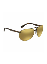 Ray-Ban Polarized Half-Rim Aviator Tortoise Sunglasses Unisex, Bronze Mirrored Lens, RB4293CH-894/A3, 65/13/140