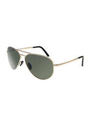 Porsche Design Full Rim Aviator Gold Sunglasses for Men, Black Lens, PD-8508A, 60/12/140