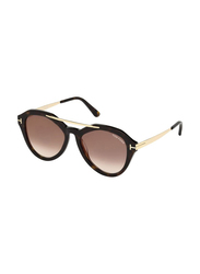 Tom Ford Full Rim Round Black Sunglasses for Women, Brown Lens, FT-057652G54, 54/17/140