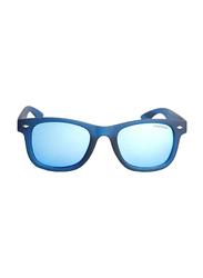 Polaroid Full Rim Square Blue Sunglasses for Boys, Blue Mirrored Lens, PLD-8009/S-UJO45JY, 45/19/135