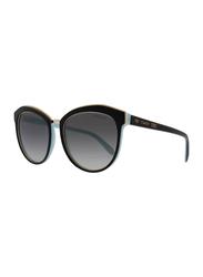 Tiffany&Co Full Rim Cat Eye Black Sunglasses for Women, Grey Lens, TF-4146-80553C, 56/18/145