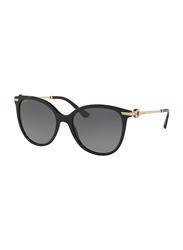 Bvlgari Polarized Full Rim Round Black Sunglasses for Women, Grey Gradient Lens, BV8201B-501/T3, 55/18/140