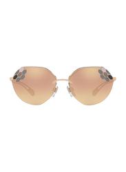 Bvlgari Full Rim Hexagonal Rose Gold Sunglasses for Women, Rose Gold Mirrored Lens, BV6099-20144Z, 57/16/140