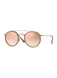 Ray-Ban Full Rim Round Gold Sunglasses for Women, Copper Lens, RB3647N-001/7O, 51/22/145