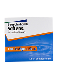 Bausch & Lomb Soflens Monthly Toric Pack of 6 Contact Lenses, Clear, SPH 0, CYL-2.75, Axis 180