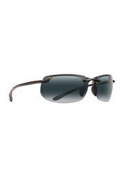 Maui Jim Polarized Full Rim Rectangle Black Sunglasses Unisex, Grey Lens, MJ-412, 70/17/130