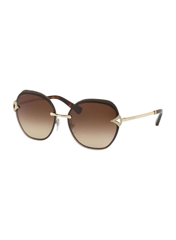 Bvlgari Full Rim Square Gold Sunglasses for Women, Brown Gradient Lens, BV6111B-203413, 60/15/135