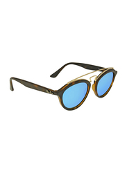 Ray-Ban Full Rim Round Tortoise/Gold Sunglasses Unisex, Blue Mirrored Lens, RB4257-609255, 50/19/145