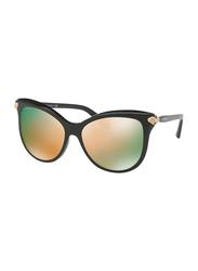 Bvlgari Full Rim Butterfly Black Sunglasses for Women, Rose Gold Mirrored Lens, BV8188B-54294Z, 57/16/145
