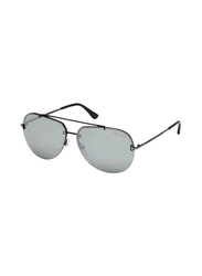 Tom Ford Full Rim Aviator Silver Sunglasses Unisex, Silver Lens, FT-058412C63, 63/12/140