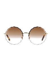 Chloe Full Rim Round Silver Sunglasses for Women, Brown Lens, CL-CE142S-742, 60/17/140