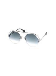 Fendi Half-Rim Aviator Silver Sunglasses for Women, Blue Lens, FN-0326/S-KB7579O, 57/21/140