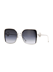 Fendi Full Rim Square Black Silver Sunglasses for Women, Grey Gradient Lens, FN-0294/S-807589O, 58/21/140
