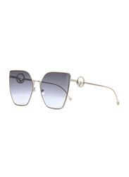 Fendi Full Rim Cat Eye Light Gold Sunglasses for Women, Grey Gradient Lens, FN-0323/S-3YG63GB, 63/18/143