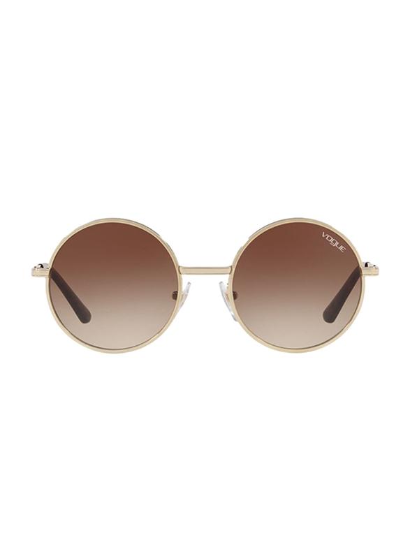 Vogue Full Rim Round Gold Sunglasses for Women, Brown Gradient Lens, VO4085S-848/13, 50/19/135