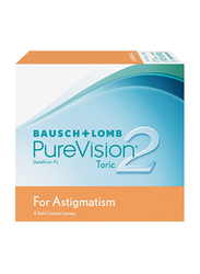 Bausch & Lomb PureVision 2 Toric Monthly Pack of 6 Contact Lenses, Clear, SPH -4.5, CYL-0.75, Axis 180