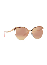Bvlgari Full Rim Cat Eye Rose Gold Sunglasses for Women, Rose Gold Mirrored Lens, BV6110-20144Z, 63/15/140