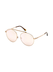 Tom Ford Full Rim Round Gold Sunglasses for Women, Rose Pink Lens, FT-057128G58, 58/17/140
