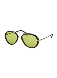 Tom Ford Full Rim Round Tortoise Sunglasses Unisex, Green Lens, FT-047352N53, 53/17/145