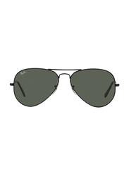 Ray-Ban Full Rim Aviator Black Sunglasses Unisex, Green Lens, RB3025-L2823, 58/14/135