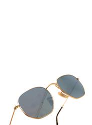 Ray-Ban Full Rim Hexagonal Gold Sunglasses Unisex, Blue Lens, RB3548N-001/30, 54/21/145