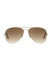Ray-Ban Full Rim Aviator Metal Gold Sunglasses Unisex, Brown Gradient Lens, RB3025-001/51, 58/14/135
