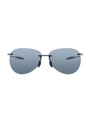 Maui Jim Polarized Rimless Aviator Black Sunglasses Unisex, Grey Lens, MJ-421, 62/12/127
