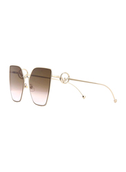 Fendi Full Rim Cat Eye Gold Sunglasses for Women, Brown Gradient Lens, FN-0323/S-S4563M2, 63/18/143