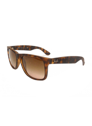 Ray-Ban Full Rim Square Tortoise Brown Sunglasses for Men, Gradient Brown Lens, RB4165-710/13, 55/16/145