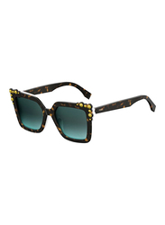 Fendi Full Rim Cat Eye Havan Sunglasses for Women, Green Lens, FN-0260/S-C9K52EQ, 52/19/145