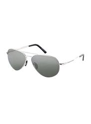 Porsche Design Full Rim Aviator Silver Sunglasses Unisex, Grey Lens, PD-8508C, 60/12/140