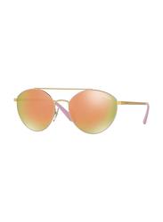 Vogue Full Rim Aviator Gold Sunglasses for Women, Grey/Golden Pink Lens, VO4023S-50245R, 56/18/135