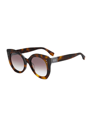 Fendi Full Rim Cat Eye Havana Sunglasses for Women, Brown Lens, FN-0265/S-08652NQ, 52/23/140