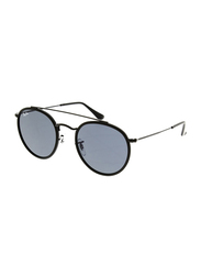 Ray-Ban Full Rim Round Black Sunglasses for Men, Blue Grey Lens, RB3647N-002/R5, 51/22/145