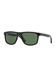 Ray-Ban Full Rim Rectangle Black Sunglasses for Boys, Green Lens, RJ9057S-100/71, 50/15/130