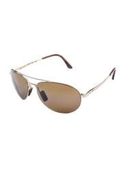 Maui Jim Polarized Full Rim Aviator Silver Sunglasses Unisex, Brown Lens, MJ-H210, 63/18/120