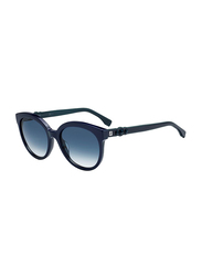 Fendi Full Rim Round Black Sunglasses for Women, Grey Flash Lens, FN-0268/S-PJP5608, 57/18/145