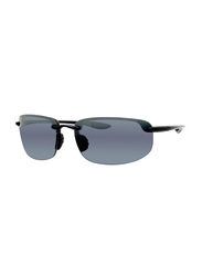 Maui Jim Polarized Half-Rim Rectangle Black Sunglasses for Men, Brown Lens, MJ-H407, 64/17/130