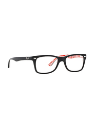 Ray-Ban Full Rim Rectangle Black on Texture Red Frame Unisex, RX5228-2479, 53/17/140